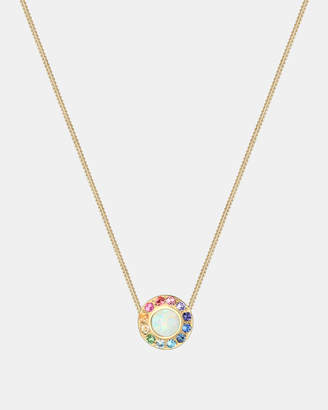 Swarovski Necklace Women Round Circle Rainbow Geo Blogger Crystals 925 Silver Gold Plated
