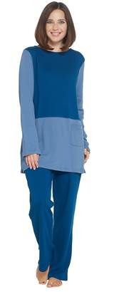 Carole Hochman Extra Brushed Interlock Color Block Tunic & Slim Pant Set