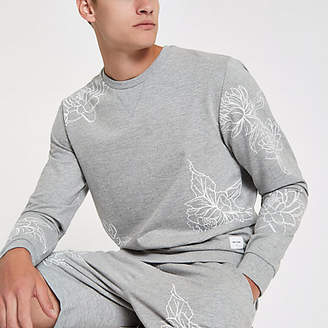 River Island Only and Sons grey floral print sweatshirt