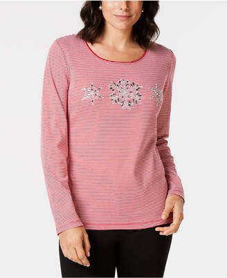 Karen Scott Cotton Beaded Snowflake T-Shirt