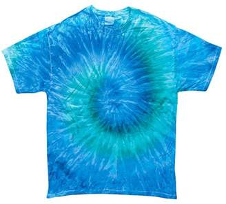 Tie-Dyes Mens Reactive-Dyed Flat Collar T-Shirt, Blue Jerry, 5XL, Style, CD100