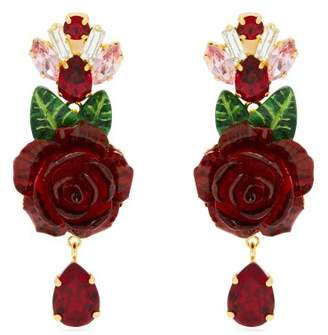 Dolce & Gabbana - Rose And Crystal Drop Earrings - Womens - Red