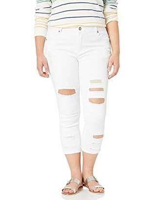Cover Girl Women's Plus Size Ripped Cropped Skinny Jeans,18