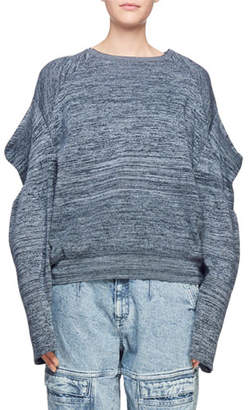 Stella McCartney Puffy-Shoulder Long-Sleeve Marled Yarn Sweater