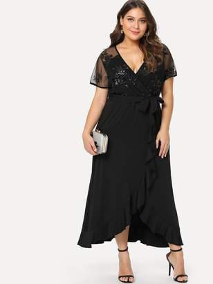 Shein Plus Semi Sheer Bodice Tie Waist Dress