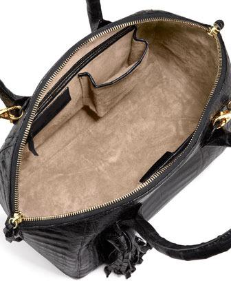 Nancy Gonzalez Small Crocodile Tassel Bowler Bag, Black