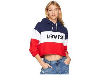 Levi's Premium Raw Cut Color Block Crop Hoodie