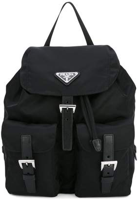 Prada black robot studded leather backpack