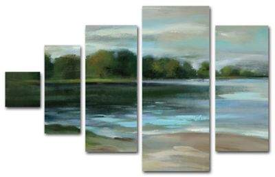 Trademark Fine Art Lake Afternoon Multi Panel Canvas Wall Art Set