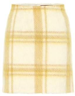 ALEXACHUNG Checked wool-blend miniskirt