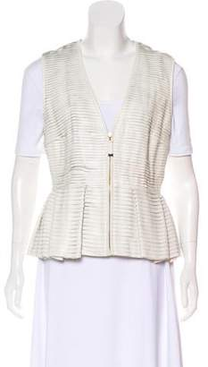 J. Mendel Leather Pin Tucked Vest