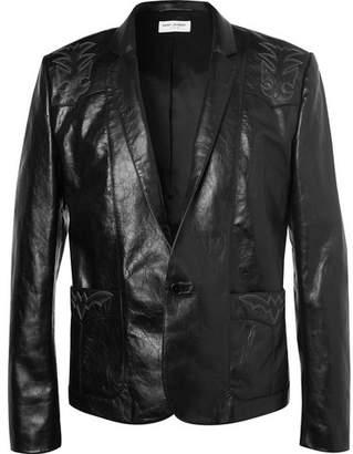 Saint Laurent Embroidered Leather Jacket - Black