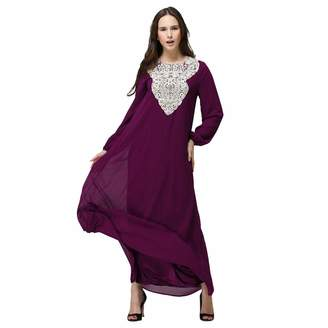 2e6288e93dcb8 baskuwish Women Tribal Ethnic Print Long Dubai Kaftan Double Layer  Embroidered Fancy Abaya Gown Muslim Maxi