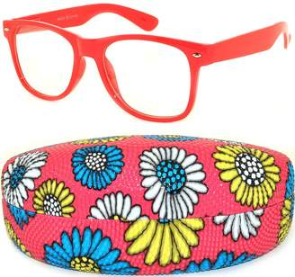 OWL Retro Vintage Red Sunglasses Clear Lens with Daisy Red Case
