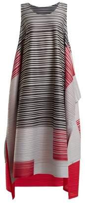 Pleats Please Issey Miyake Pleated Square Print Dress - Womens - Pink Multi