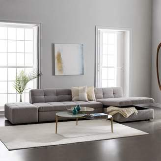 west elm Plateau 3-Piece Storage Chaise Sectional w/ Ottoman