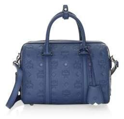 MCM Small Essential Monogram Leather Boston Bag