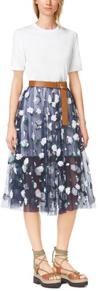 Michael Kors Floral-Embroidered Tulle Ballerina Skirt