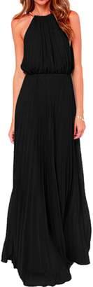 Yacun Women's Halter Sleeveless Floor-Length Pleated Party Bridesmaid Dress M