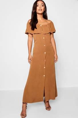 boohoo Petite Woven Bardot Mock Horn Maxi Dress