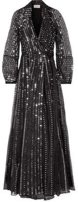 Temperley London Jet Sequined Silk Wrap Dress - Black