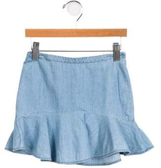 Chloé Girls' Ruffled Chambray Skirt