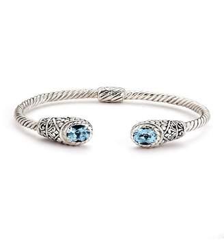 Samuel B Jewelry Sterling Silver Blue Topaz End Twisted Cuff Bracelet