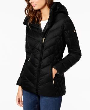 Michael Kors Michael Asymmetrical Hooded Packable Down Puffer Coat, Created for Macy's