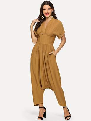 Shein Roll Up Sleeve Wide Waistband Harem Jumpsuit