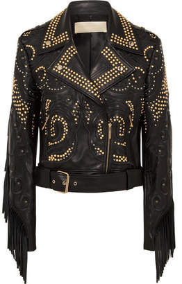 Elie Saab Studded Fringed Leather Biker Jacket - Black