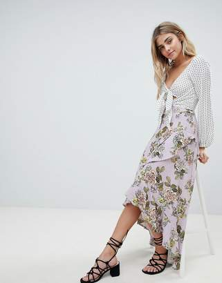 Missguided Chiffon Floral Midi Skirt