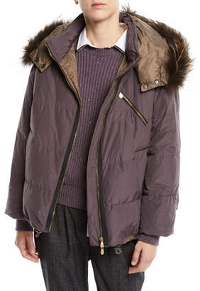 Brunello Cucinelli Removable-Fur-Collar Down Puffer Jacket w/ Monili Trim