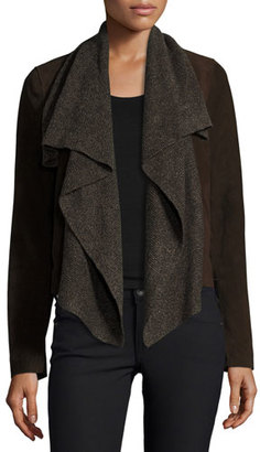 Bagatelle Suede & Ribbed-Knit Waterfall Jacket, Brown $598 thestylecure.com