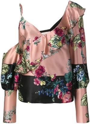 Black Coral off shoulder floral print blouse