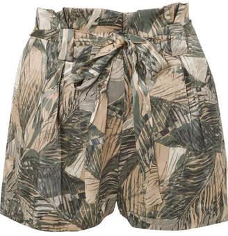 L'Agence Alex Printed Silk-satin Shorts