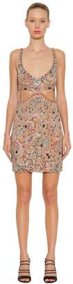Roberto Cavalli Bead Embroidered Stretch Tulle Dress