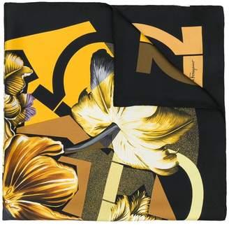 Salvatore Ferragamo Gancini and Flowers print scarf