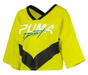 Puma Xtreme Cropped V-Neck Cotton Tee
