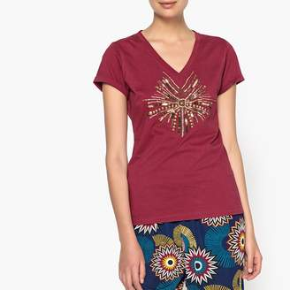 Anne Weyburn Beaded V-Neck T-Shirt