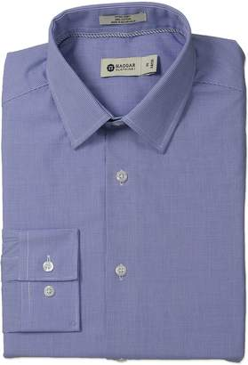 Haggar Men's Micro Check Point Collar Regular Fit Long Sleeve Dress Shirt