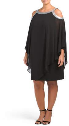 Plus Cold Shoulder Poncho Dress