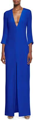 Cushnie et Ochs 3/4-Sleeve V-Neck Gown w/Chain