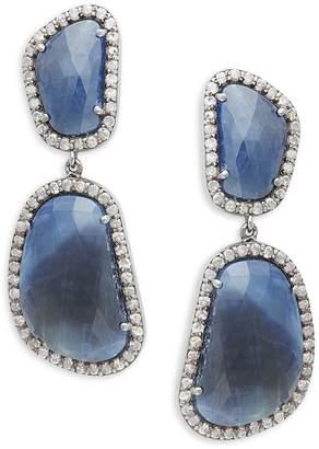Adornia Fine Jewelry Sterling Silver, Blue Sapphire & Diamond Drop Earrings