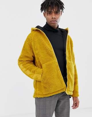 Asos Design DESIGN zip through borg jacket in mustard