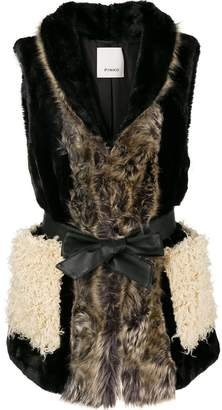 Pinko tie waist faux fur gilet