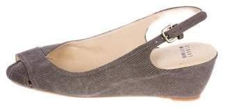 Stuart Weitzman Embellished Peep-Toe Wedges