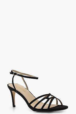 boohoo NEW Womens Cage Front Low Heels in Black size 7