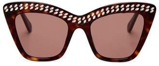 Stella McCartney Crystal Embellished Cat Eye Acetate Sunglasses - Womens - Tortoiseshell