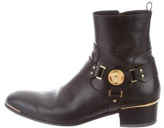 Versace Leather Round-Toe Ankle Boots