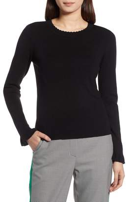 Halogen Scallop Trim Sweater